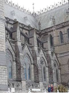 Buttresses supporting the walls of St. Colman's Cathedral.