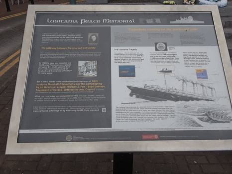 Plaque discussing the history of the sinking of the Lusitania.