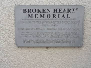 "Plaque to the ""Broken Heart"" Memorial."